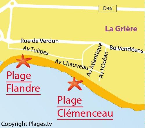 Carte de la plage de la Flandre de La Tranche