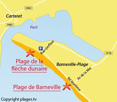 Map of Fleche Dunaire Beach in Barneville