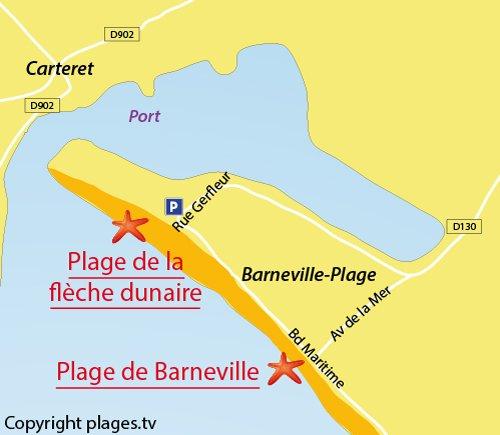 Carte de la flèche dunaire de Barneville