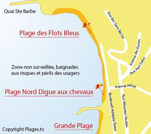 Carte de la plage des Flots Bleus de St Jean de Luz