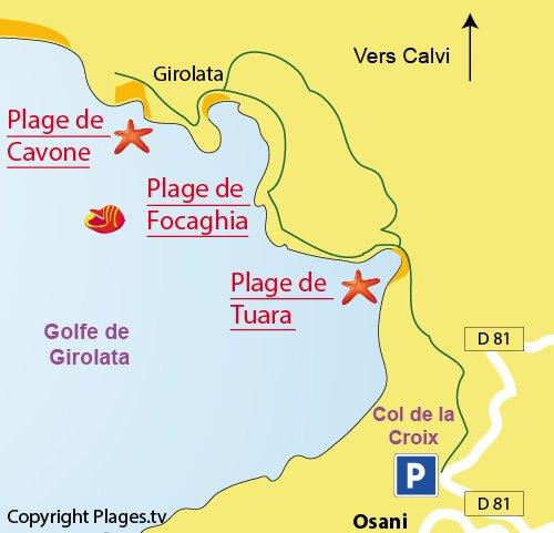 Plan d'accès à Girolata en Corse - Plage de Focaghia