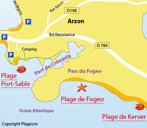 Map of Fogeo Beach in Arzon - France