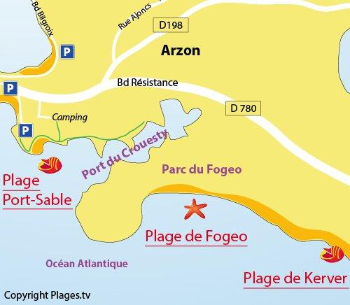 Plan de la plage de Fogeo à Arzon