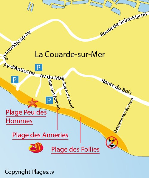 Map of Follies Beach in La Couarde sur Mer - France
