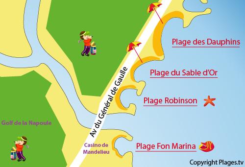 Carte de la plage de Fon Marina à Mandelieu