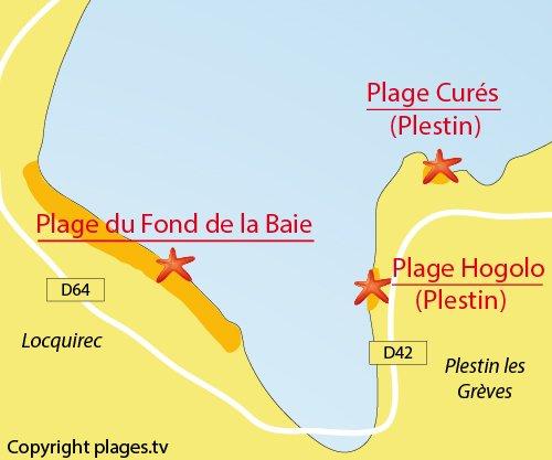 Carte de la plage du Fond de la Baie à Locquirec