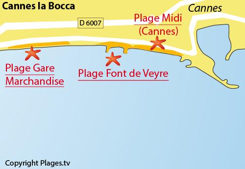 Carte de la plage de Font de Veyre Cannes la Bocca