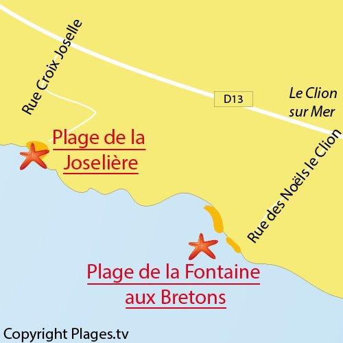 Carte de la plage de la Fontaine aux Bretons - Pornic