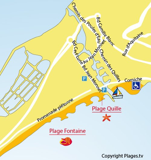 Carte de la plage de la Fontaine à Sète