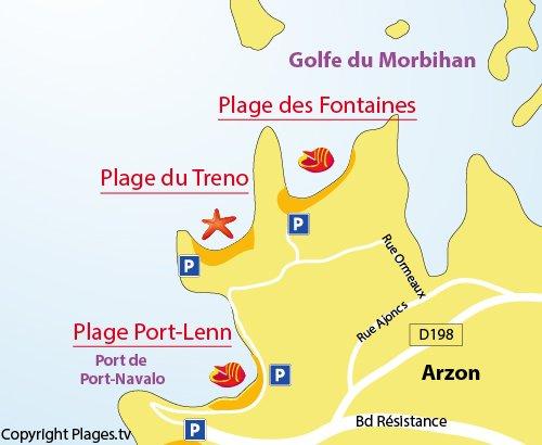 Carte de la plage des Fontaines à Arzon