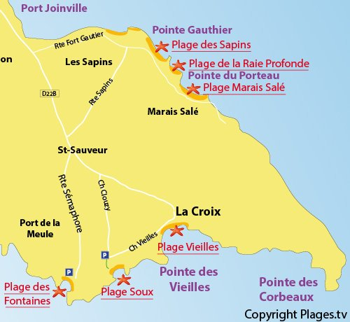 Map of Fountain Beach in Ile d'Yeu
