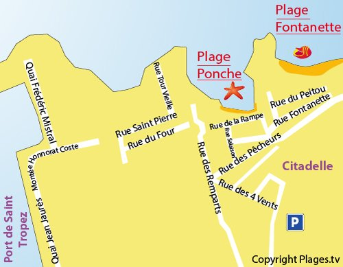 Map of Fontanette Beach in Saint Tropez