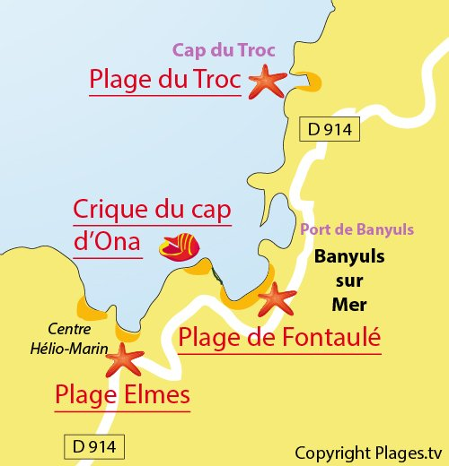 Map of Fontaulé Beach in Banyuls sur Mer