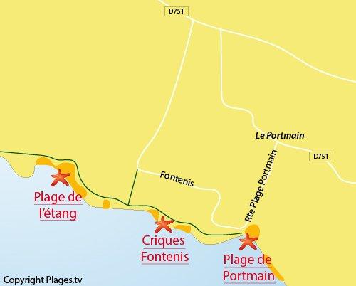 Carte de la plage de Fontenis à Pornic