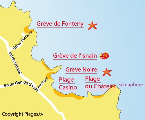 Map of Fonteny Cove in Saint Quay Portrieux