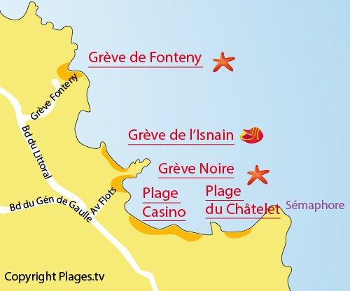 Carte de la plage de Fonteny à St Quay Portrieux