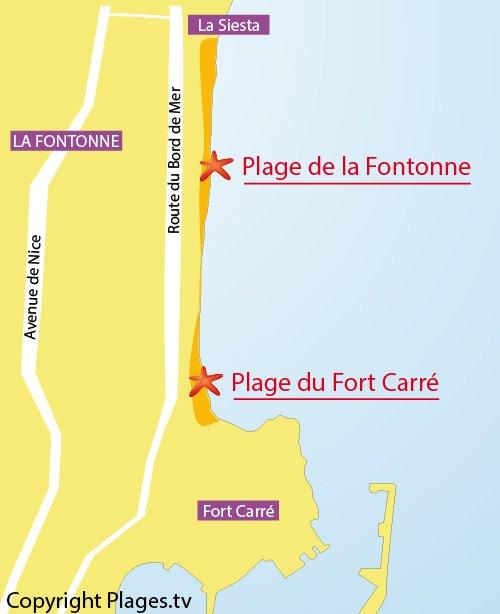 Carte de la plage de la Fontonne à Antibes