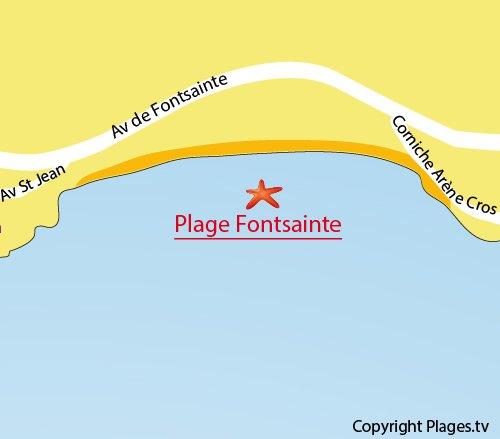Plan de la plage Fontsainte à La Ciotat