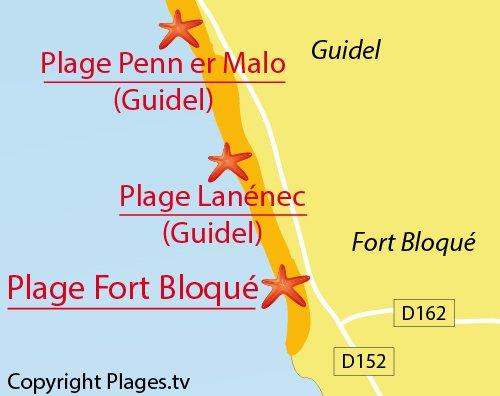 Carte de la plage de Fort Bloqué à Ploemeur
