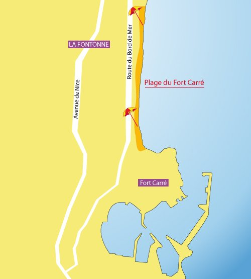 Carte de la plage du fort carré à Antibes
