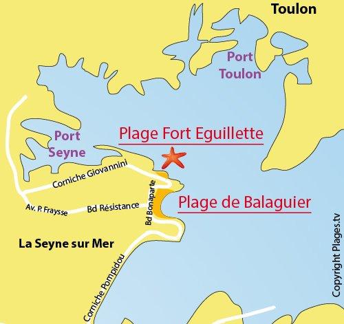 Map of Fort Eguillette beach in La Seyne sur Mer