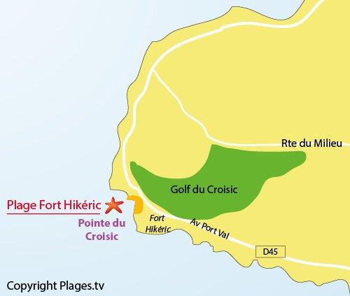 Map of Fort Hikéric Beach - Le Croisic