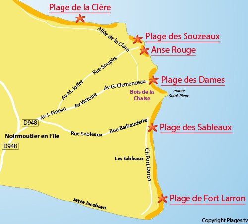 Map of Fort Larron Beach - Noirmoutier