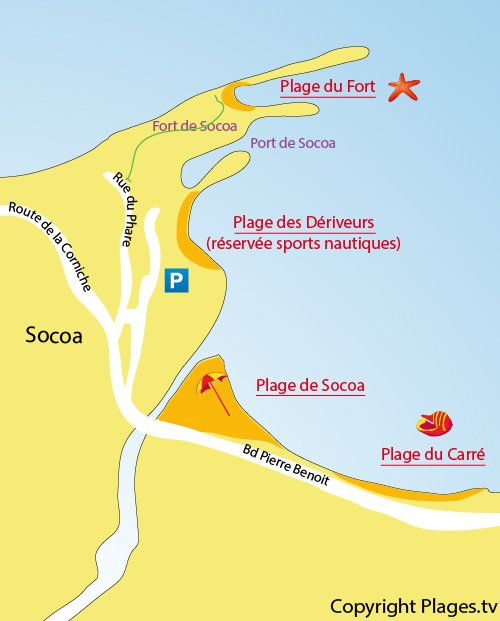 Mappa della Spiaggia del Forte di Socoa in Ciboure