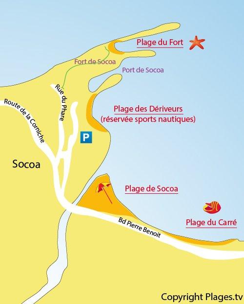 Carte de la plage de Socoa à Ciboure