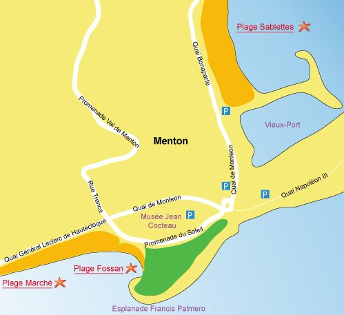 Map of Fossan beach in Menton