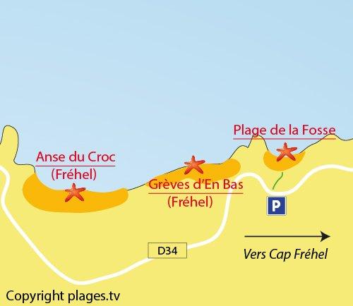 Carte de la plage de la Fosse au Cap Fréhel