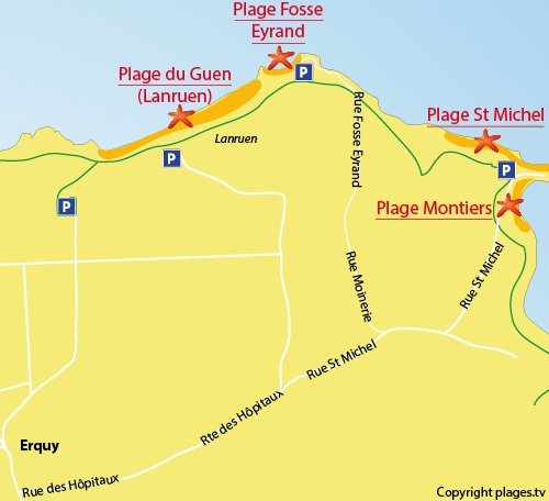 Map of Fosse Eyrand beach in Erquy