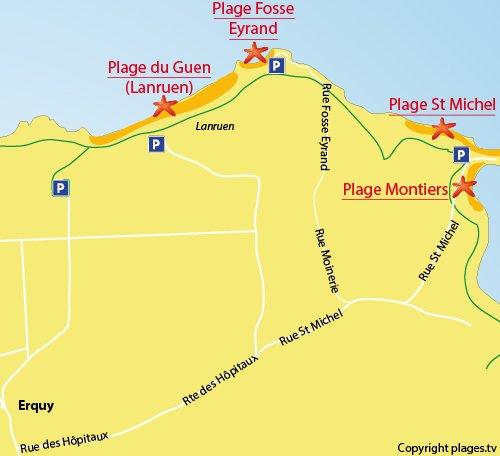 Mappa della Spiaggia della Fosse Eyrand in Erquy