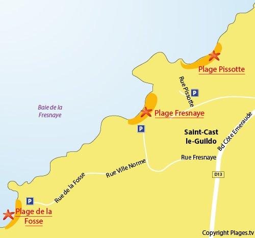 Map of Fosse Beach in St Cast Guildo