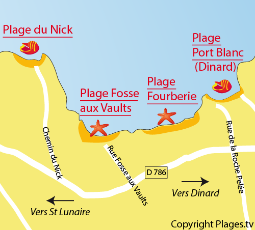 Map of the Fosse aux Vaults Beach in Saint Lunaire