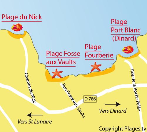 Plan de la plage de la Fosse aux Vaults à St Lunaire