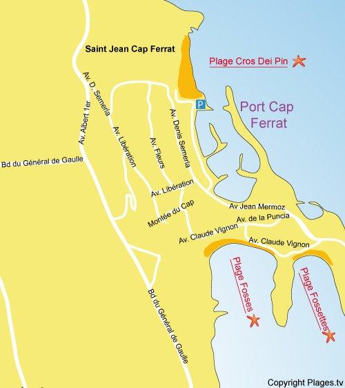 Carte de la plage les Fosses à Saint Jean Cap Ferrat