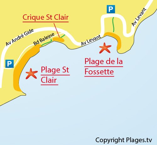 Map of the Fossette Beach in Lavandou