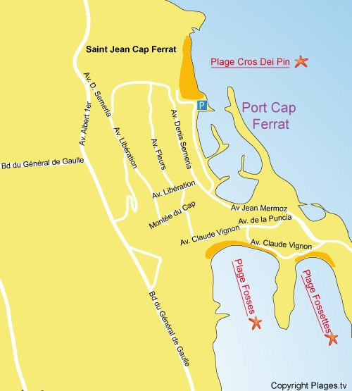 Map of Fossettes beach in Saint Jean Cap Ferrat