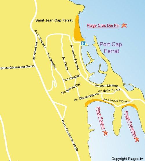 Carte de la plage des Fossettes à Saint Jean Cap Ferrat