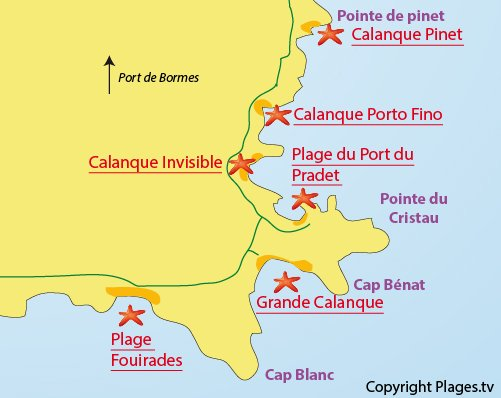Map of Fouirades Beach in Bormes les Mimosas