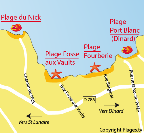 Map of the Fourberie Beach in Saint Lunaire