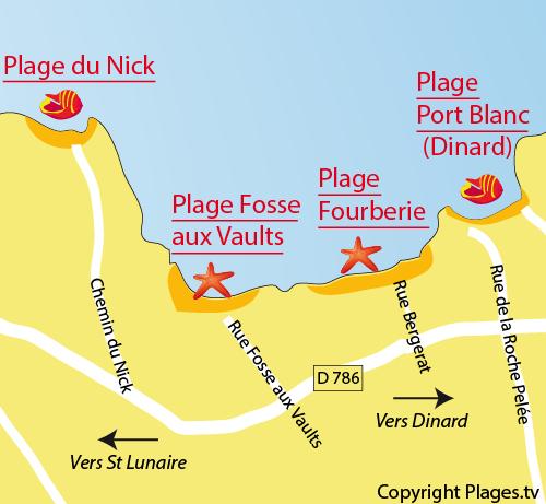 Carte de la plage de la Fourberie de Saint Lunaire
