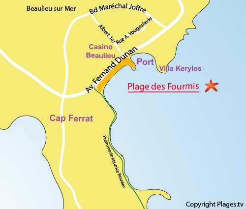 Map of Fourmis Beach in Beaulieu sur Mer