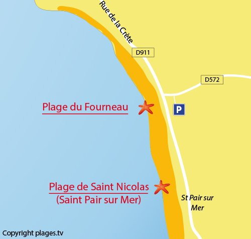 Carte de la plage du Fourneau à Granville