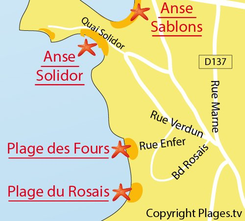 Map of the Fours à Chaux Beach in St Malo