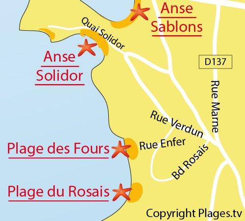 Plan de la plage des Fours à Chaux à St Malo