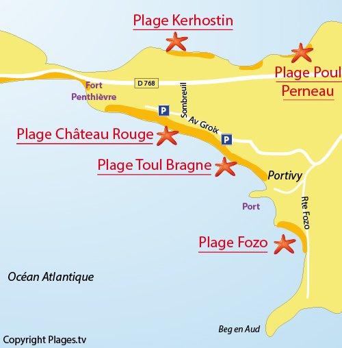 Carte de la plage de Fozo à Quiberon