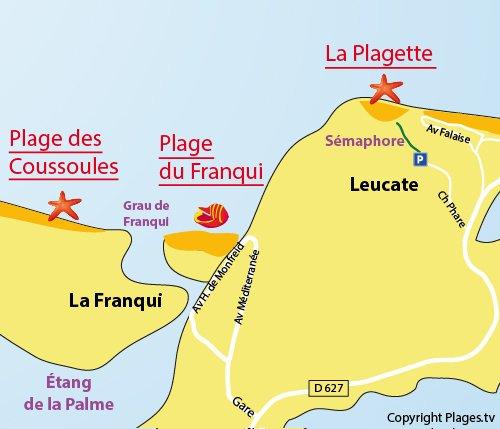 Carte de la plage du Franqui à Leucate (11)