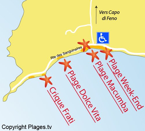 Plan de la plage du Frati à Ajaccio
